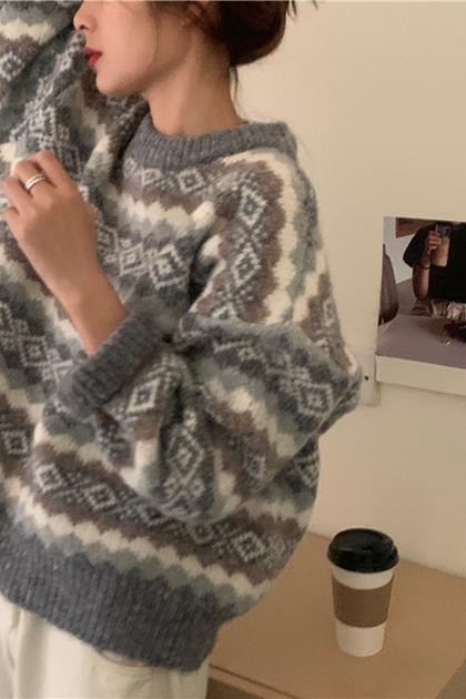 復古幾何圖騰加厚針織毛衣*2色