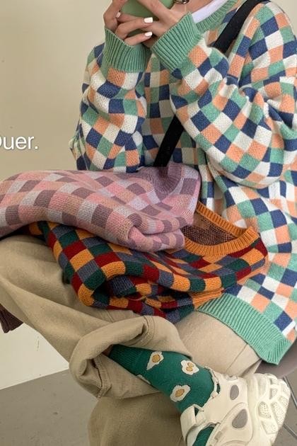 復古拼色格紋針織毛衣*3色