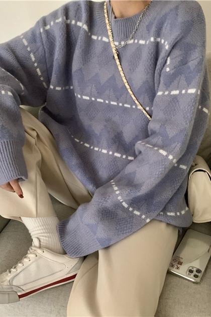 復古圖騰鉤織長袖毛衣*2色