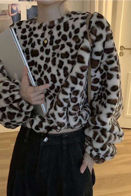 復古豹紋短版抽繩毛絨上衣