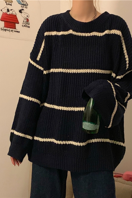 經典條紋寬鬆鉤織長袖毛衣