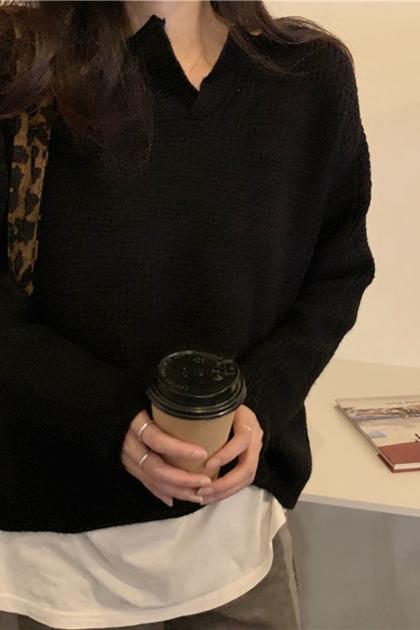開岔領純色鉤織長袖毛衣*3色