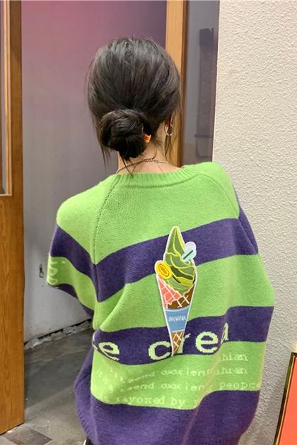 冰淇淋印圖撞色條紋毛衣*2色