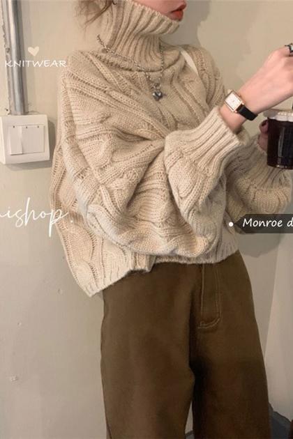 高領麻花泡泡袖短版針織毛衣*2色
