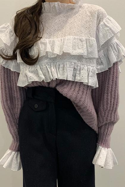 復古立領鏤空蕾絲褶皺拼接假兩件針織毛衣*3色