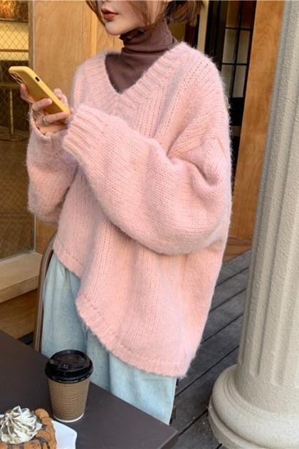 溫柔小姐姐V領寬鬆粗鉤織毛衣*2色