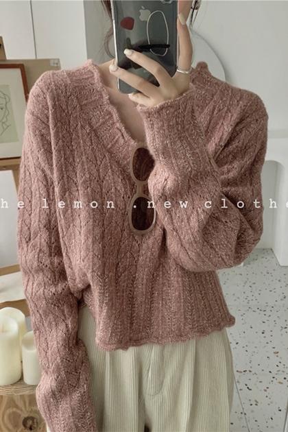 花邊V領雜線混織針織毛衣*4色