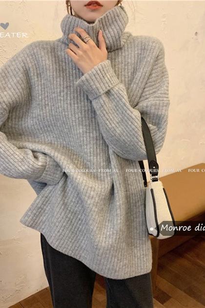 高領坑條加厚針織毛衣*4色