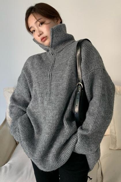 保暖高領拉鍊勾織針織毛衣*2色