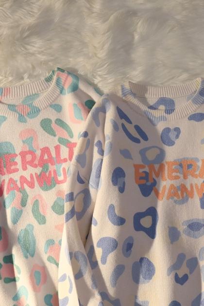 粉彩溫柔配色豹紋針織毛衣*2色