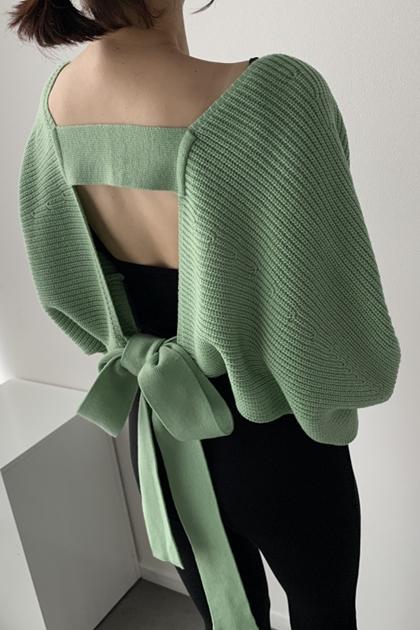 溫柔設計感美背縷空綁帶蝴蝶結針織毛衣罩衫外套*4色
