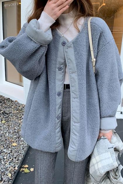 兩面穿無領壓紋羊羔毛外套*3色SML