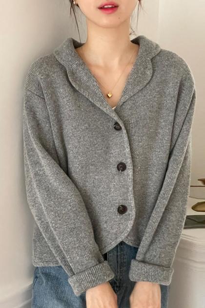 翻領短款針織開衫毛衣外套*2色