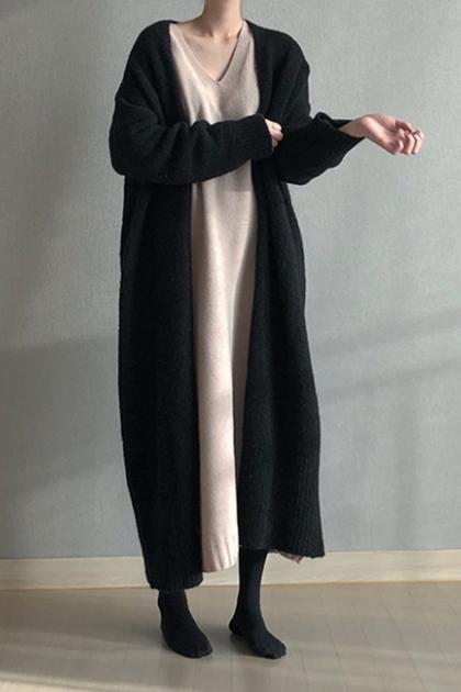 俐落知性開襟加長毛衣外套*2色