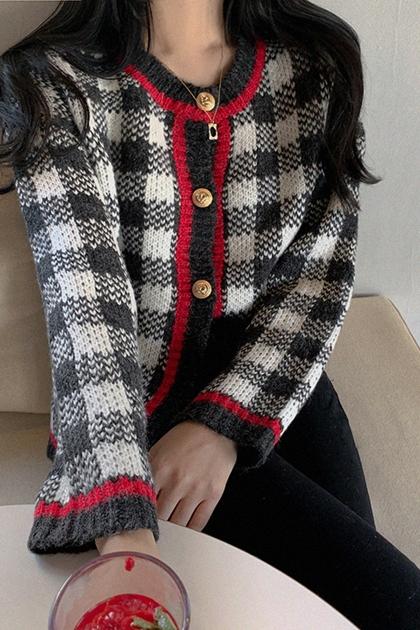 復古格紋配色金釦針織毛衣外套*2色