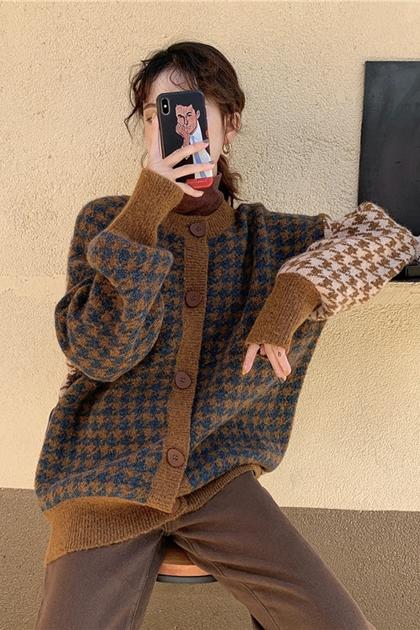 復古千鳥格配色軟糯針織毛衣外套*2色