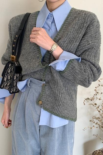 鑲邊撞色開釦針織毛衣外套*3色