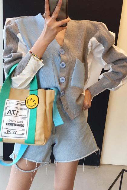 復古拼色開釦針織外套襯衫2色