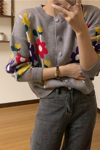 復古彩色系花朵針織毛衣外套*灰