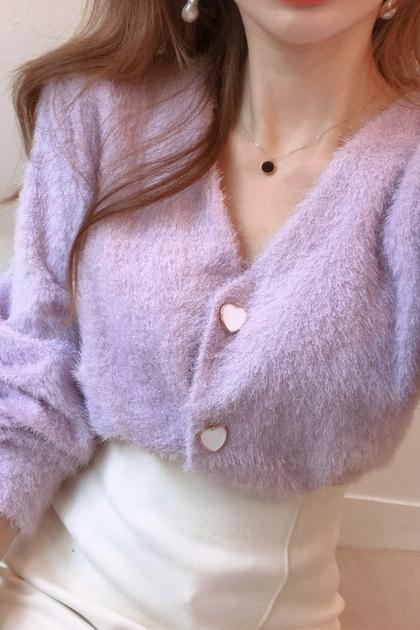 愛心釦柔軟毛針織外套*2色