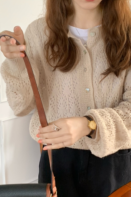 溫柔縷空鉤織針織外套*3色