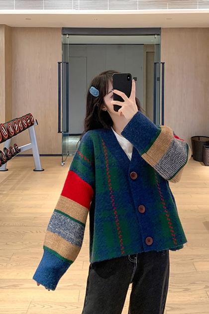 復古撞色格紋針織外套*2色
