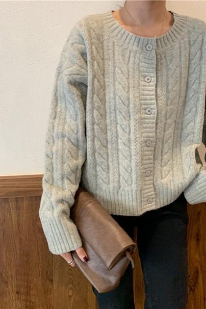 純色麻花開釦針織毛衣外套*灰