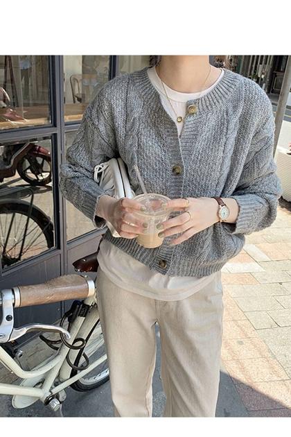 復古寬鬆麻花鉤織開釦毛衣外套*5色
