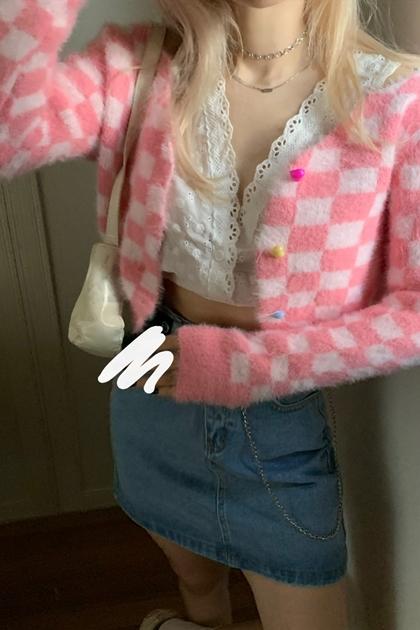 炫雅風粉紅菱格紋毛絨外套