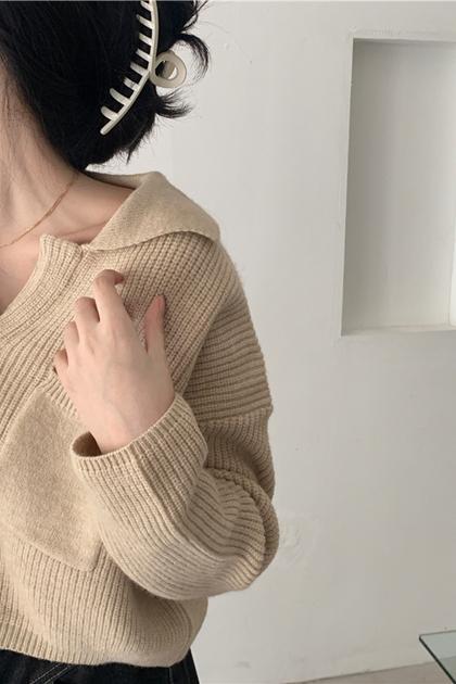 復古翻領開釦針織外套毛衣*3色