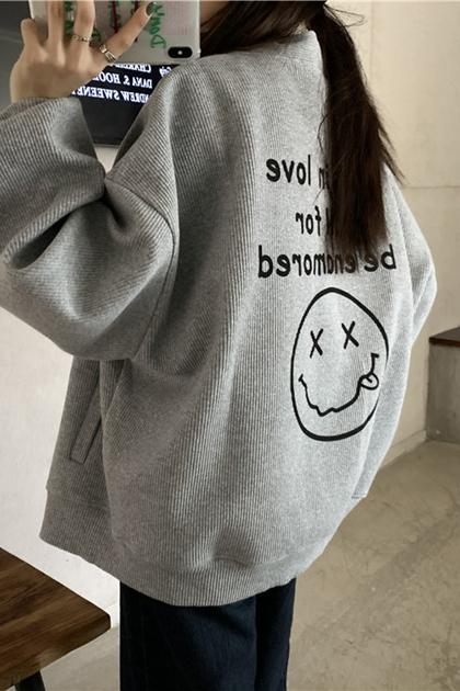 慵懶字母笑臉印圖V領開釦外套*3色