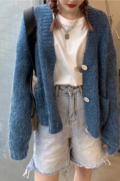 懷舊奶奶厚鉤織針織外套*3色