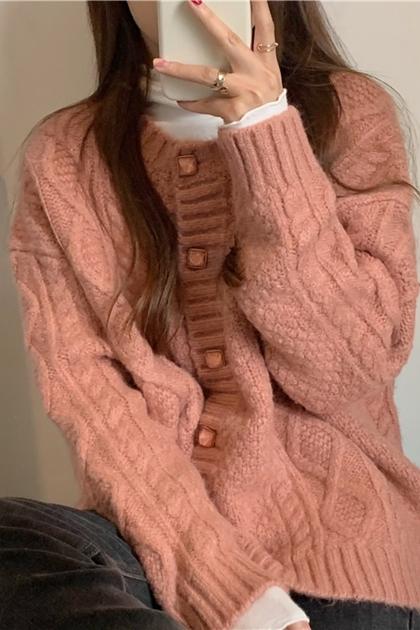 復古方塊釦麻花鉤織外套*2色