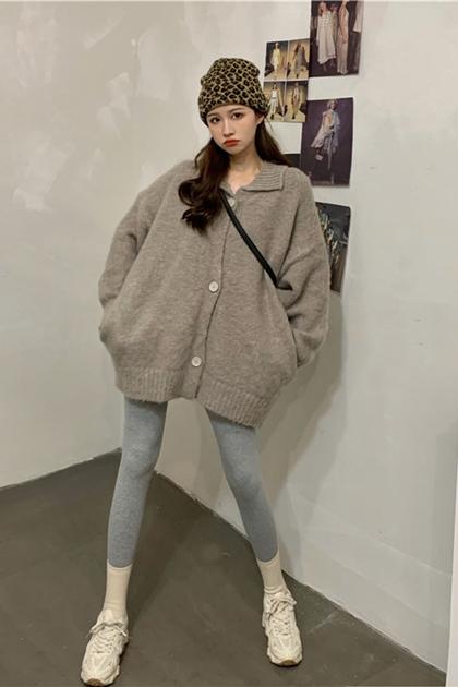 翻領慵懶長版針織外套毛衣*2色