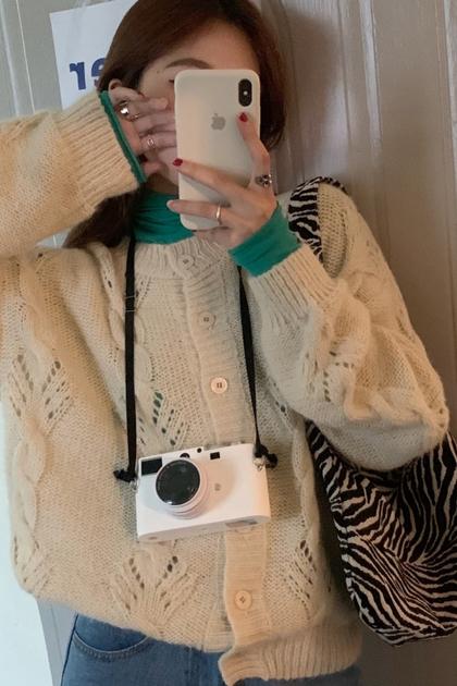 溫柔縷空雕花長袖針織毛衣外套*2色