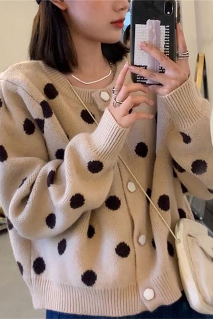 慵懶風別緻釦圓點點長袖針織毛衣外套*3色