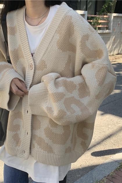 溫柔豹紋長袖針織毛衣外套