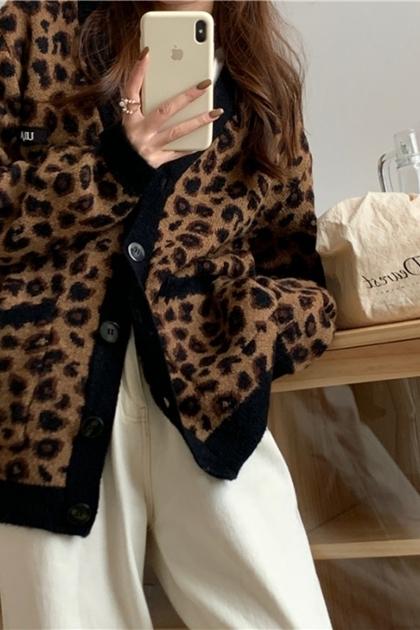 寬鬆加厚保暖長袖配色豹紋針織毛衣外套
