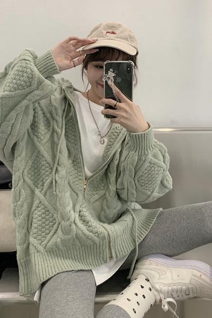 復古麻花鉤織連帽長袖針織外套*2色