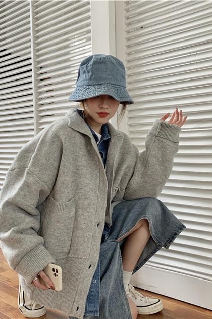 復古雙口袋長袖針織外套*2色
