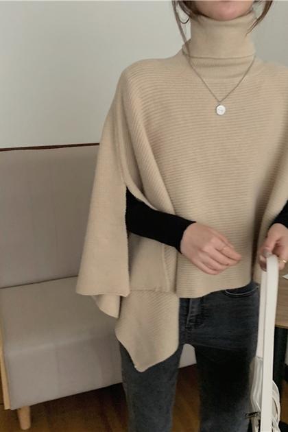 不規則高領針織斗篷披肩罩衫外套