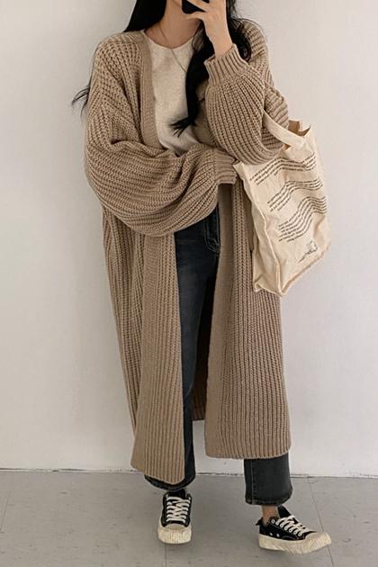 慵懶粗鉤織開襟長袖外套*3色
