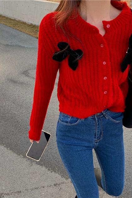 蝴蝶結裝飾大紅針織外套