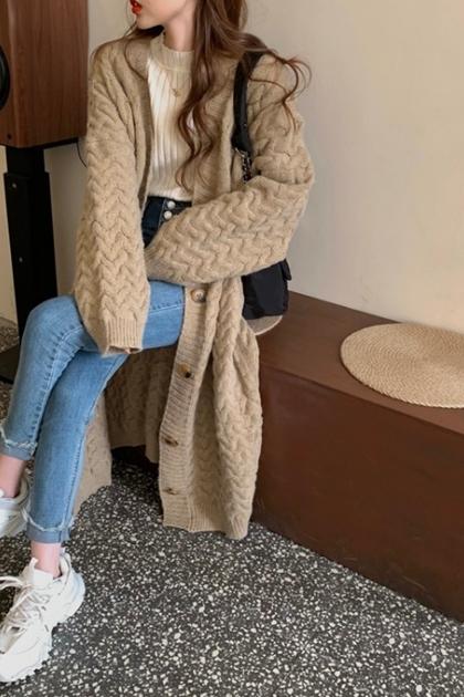 復古慵懶圖紋鉤織加長毛線外套*3色