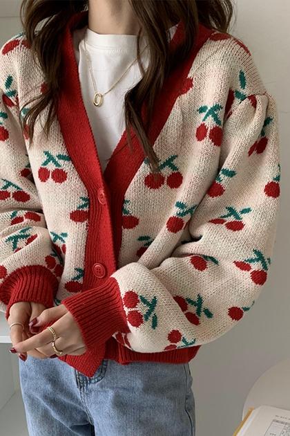 復古可愛櫻桃配色鉤織長袖毛衣外套*2色