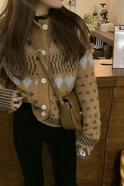 復古圖騰針織毛衣外套