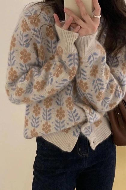 復古加厚緹花針織毛衣外套*3色