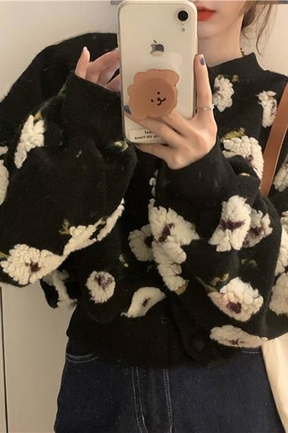 甜美立體花朵毛料外套*2色