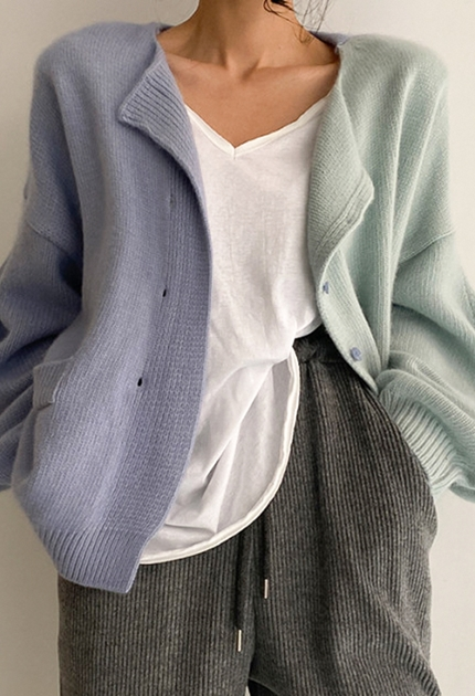 造型拼色針織毛衣外套*2色