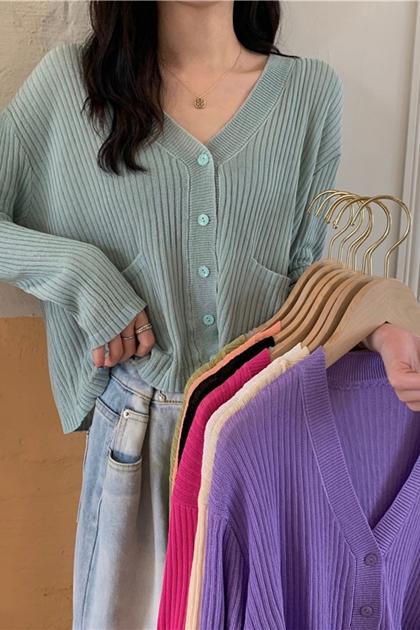 雙口袋V領防曬遮陽針織衫*8色